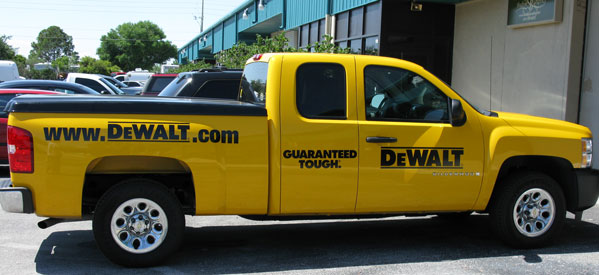 cut vinyl lettering dewalt truck with cut vinyl lettering and graphics