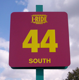 Reflective Vinyl Graphics: Full Color Printed Reflective Vinyl Road Sign for I-Ride Trolley.
