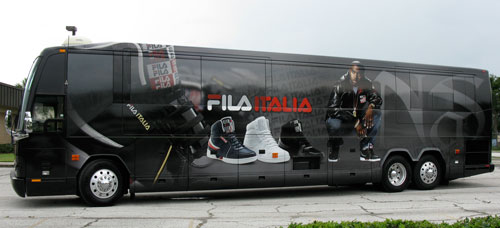 Vehicle Wraps: Fila / Nas Wrapped Tour Bus.