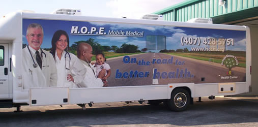 Vehicle Wraps: Vehicle Wraps: H.O.P.E Mobile Medical Unit Bus Wrap.
