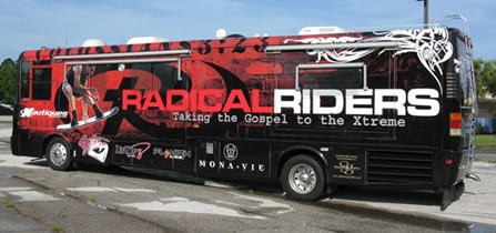 Vehicle Wraps: Radical Riders Tour Bus Wrap.