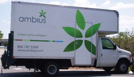 Vehicle Wraps: Ambius Die-Cut Decal Fleet Graphics on Truck.