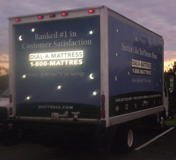 Vehicle Wraps: Dial A Matress Reflective Fleet Graphics on Rear.