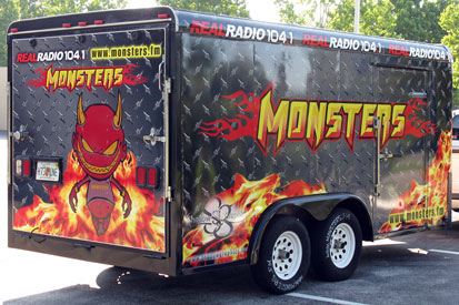 Vehicle Wraps: Monsters in the Morning Trailer Wrap with Reflective Vinyl Graphics.