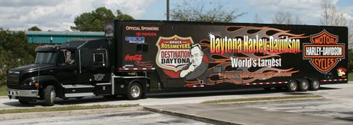 Vehicle Wraps: Harley Davidson Semi Truck Wrap with reflective.